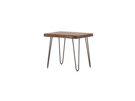 World Interiors Grandby Walnut, Antique Zinc 26'' Wide Rectangular End Table