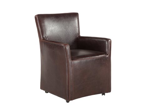 World Interiors Lily Distressed Brown Arm Rolling Dining Chair WITZWPY530