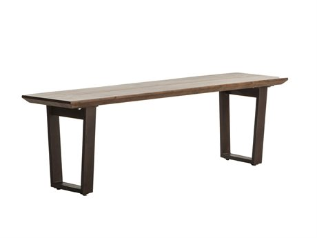 World Interiors Mapai Walnut, Lacquer, Antique Zinc Accent Bench