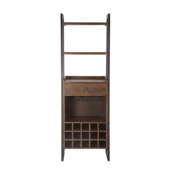 World Interiors Mapai Walnut, Lacquer, Antique Zinc Bar Cabinet WITZWMPBC24