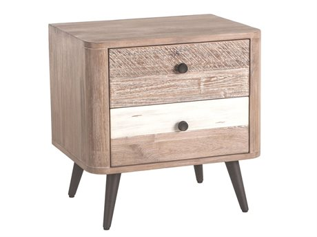 World Interiors Newport Whitewash, Weathered Gray, Antique Black, Lacquer 2 Drawers Nightstand