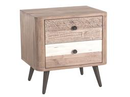Newport Whitewash, Weathered Gray, Antique Black, Lacquer 2 Drawers Nightstand