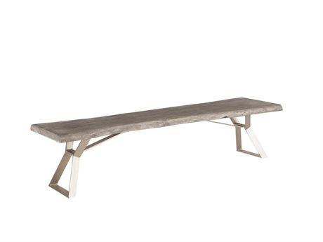 World Interiors Nottingham Weathered Gray, Antique Nickel Accent Bench