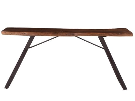 World Interiors Nottingham Walnut, Antique Zinc 70'' Wide Rectangular Console Table