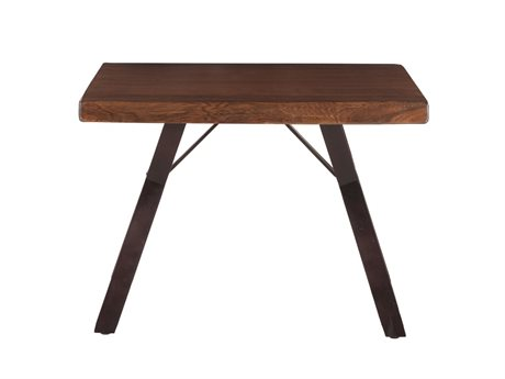 World Interiors Nottingham Walnut, Antique Zinc 30'' Wide Rectangular End Table