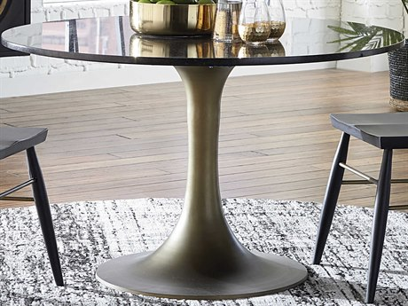 World Interiors Nubian Ebony Granite / Antique Brass 48'' Wide Round Dining Table WITZWTNRD48MBF