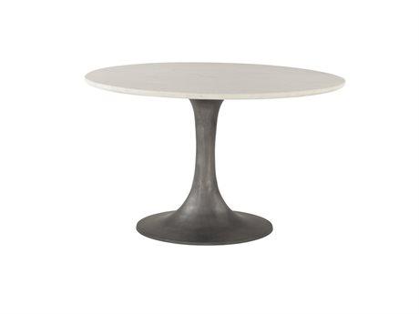 World Interiors Palm Desert White / Gun Metal 48'' Wide Round Dining Table WITZWPDRD48