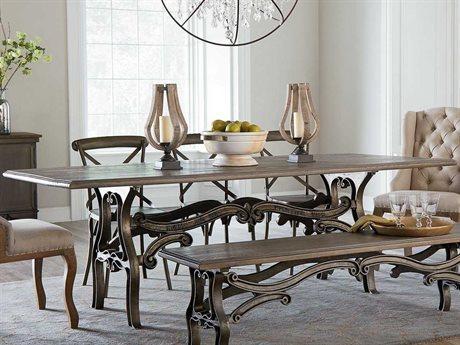 World Interiors Regina Weathered Gray, Gun Metal 84'' Wide Rectangular Dining Table WITZWRGGZ8438
