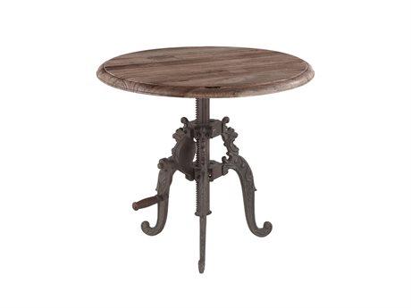 World Interiors Regina Weathered Gray, Antique Black 24'' Wide Round Pedestal Table