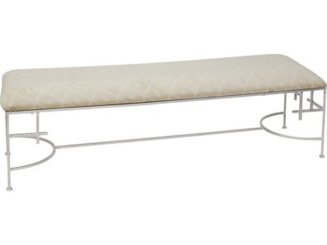 Worlds Away Diamond / Silver Leaf Accent Bench