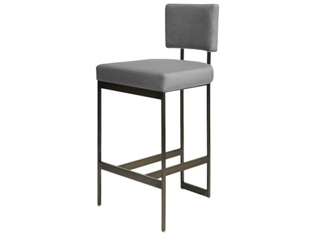 Worlds Away Grey Velvet / Bronze Side Bar Height Stool