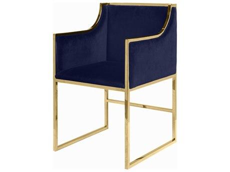 Worlds Away Navy Velevt / Brass Arm Dining Chair WAANABELLEBRNVY
