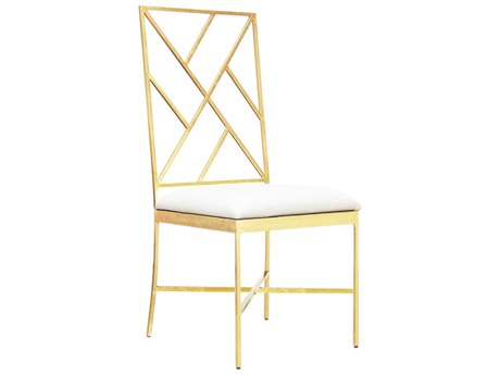 Worlds Away White Vinyl / Gold Leaf Side Dining Chair