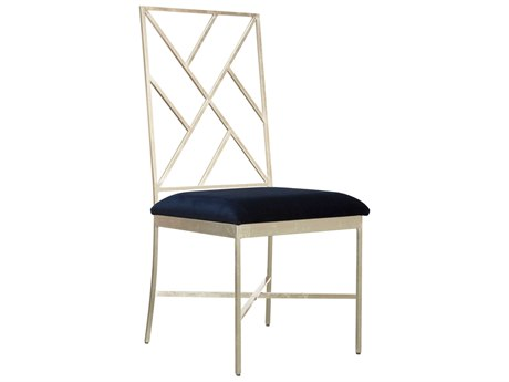Worlds Away Navy Velvet / Silver Leaf Side Dining Chair WAASHTONSNAVY