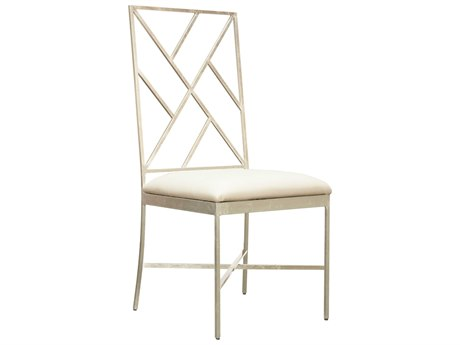 Worlds Away White Vinyl / Silver Leaf Side Dining Chair