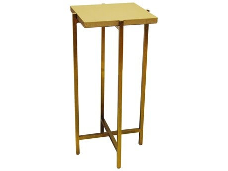 Worlds Away Beige Faux Shagreen / Antique Brass 10'' Wide Square End Table WAOLLIEBS