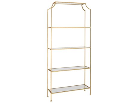 Worlds Away Gold Leaf / Clear Glass Etagere