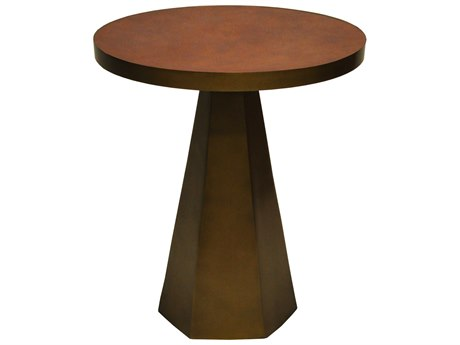 Worlds Away Faux Brown Leather / Antique Brass 18'' Wide Round Pedestal Table WAWOODROWABRBRL