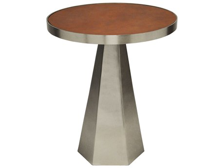 Worlds Away Faux Brown Leather / Antique Nickel 18'' Wide Round Pedestal Table WAWOODROWANBRL