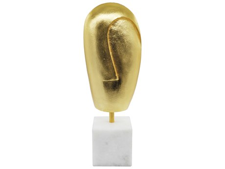 Worlds Away Gold Leaf / White Marble Sculpture