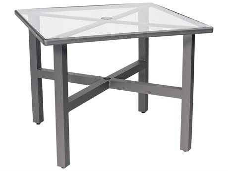 Woodard Elite Aluminum 36 Square Acrylic Dining Table with Umbrella Hole