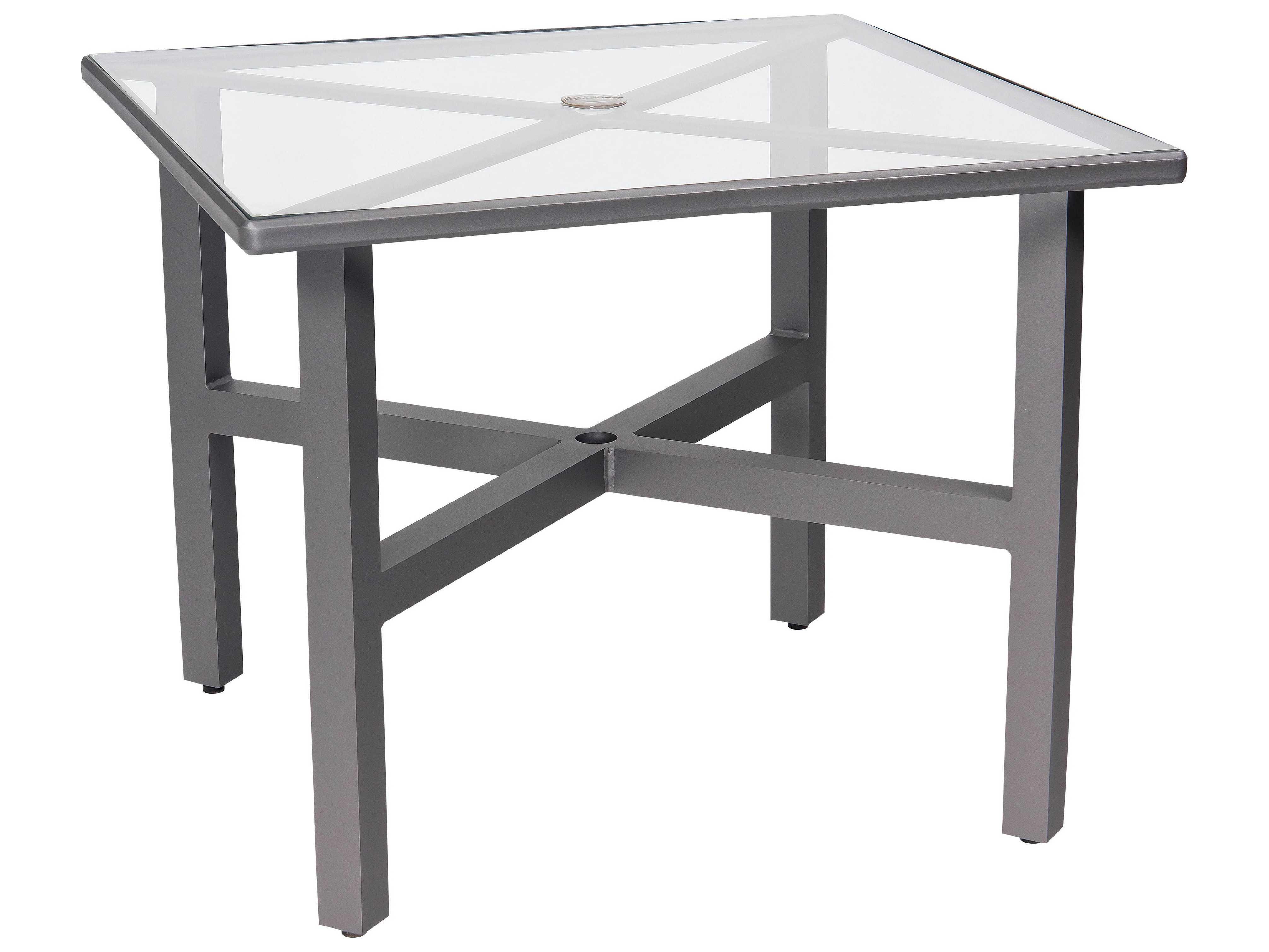 Woodard elite aluminum 36 square acrylic dining table with - Aluminium picnic table with umbrella ...