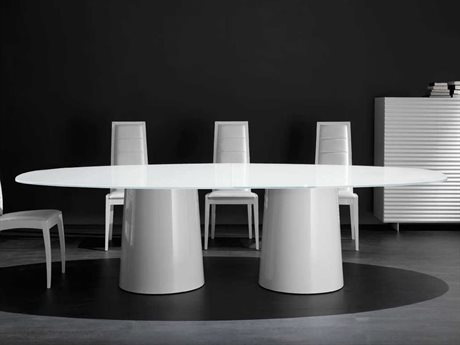 YumanMod Antares White & Extra White Oval Dining Table YMANTOVAL