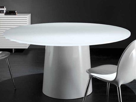 YumanMod Antares White & Extra White 60'' x 60'' Round Dining Table YMANTROUND