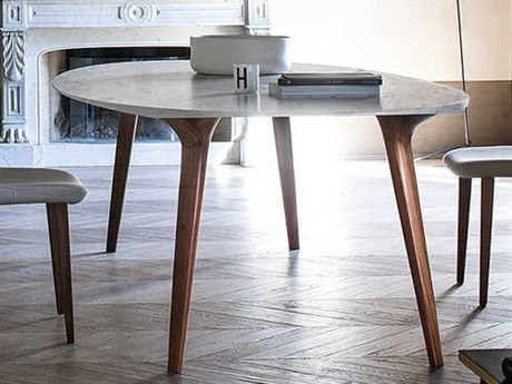 Yumanmod Armidale Walnut & White Carrara Marble Oval Dining Table YMBR0108W