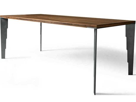 Yumanmod Baltimore Rusted Legs & Walnut Top 78.7'' x 35.4'' Rectangular Dining Table
