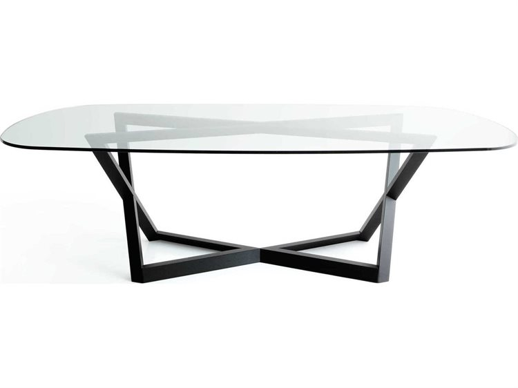 Yumanmod Belfast Oak Base Glass Top Oval Dining Table BR01 02 GT