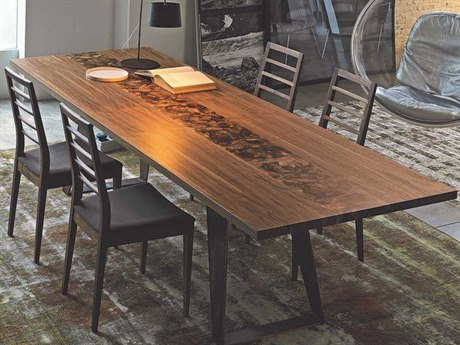 YumanMod Benjamin Walnut / Root Inlay Rectangular Dining Table