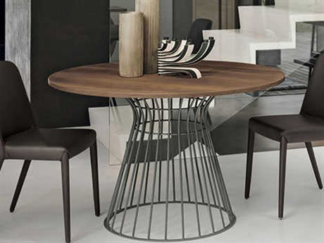 Yumanmod Brigitte Anthracite Matt Lacquered Base & Wood Color Top 47.2'' Round Dining Table YMTM010101