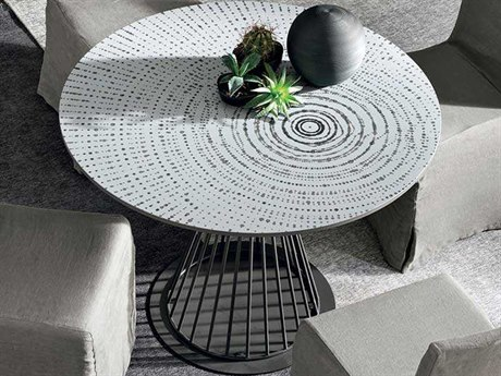 Yumanmod Brigitte Anthracite Matt Lacquered Base & Circular Graphic Design Top 47.2'' Round Dining Table YMTM010102