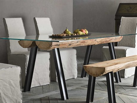 YumanMod Colorado Brown & Clear 78'' x 39'' Rectangular Dining Table with Old Larch Timber Details YMSD010901