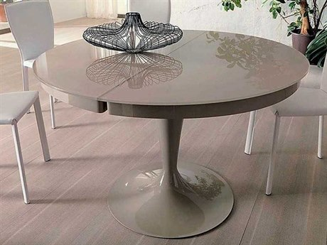 Yumanmod Elise High Gloss Cofee Cream 46.5'' - 64.2'' x 46.5'' Extendable Round Dining Table