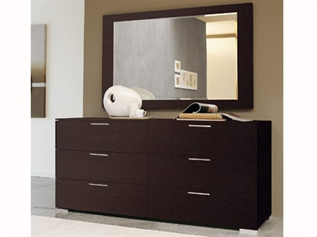 YumanMod Enter Wenge 6 Drawers Double Dresser with Mirror
