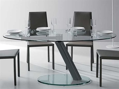Yumanmod Onda Graphite Coated Base & Clear Glass Top 52.7'' - 66.9'' x 38.6'' Extendable Oval Dining Table