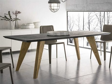 YumanMod Rino Natural Wood & Black Rectangular Extendable Dining Table YMSD0118