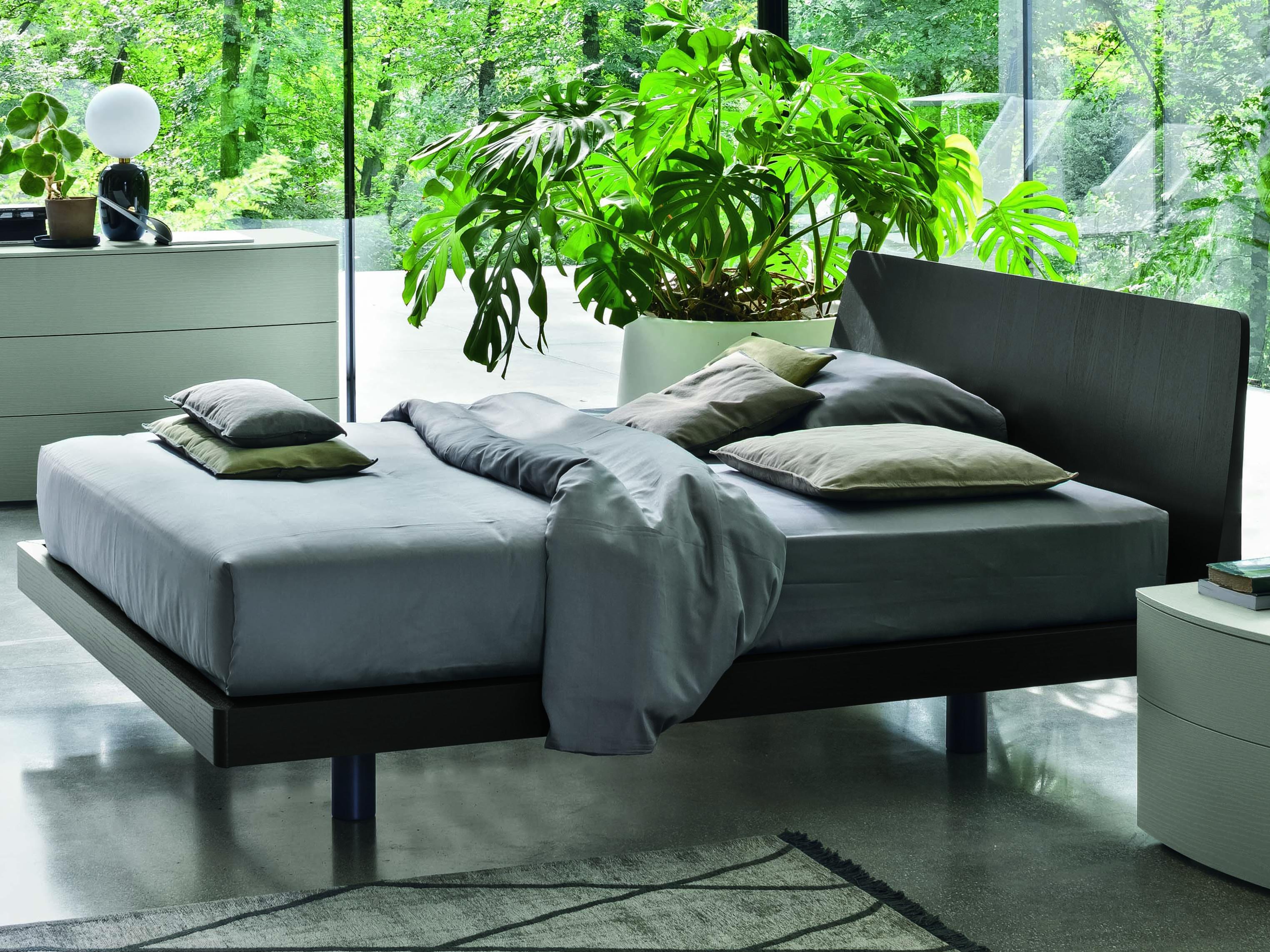 Lax Series Platform Bed yumanmod roger charcoal grey king queen platform bed