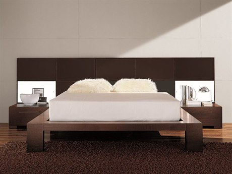 YumanMod Soho Platform Bed with Nightstands and Lights YMCR65CONF2