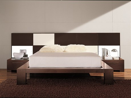 YumanMod Soho Platform Bed with Nightstands and Lights YMCR65CONF3
