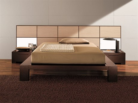 YumanMod Soho Platform Bed with Nightstands and Lights