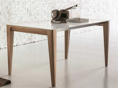 YumanMod Sunrise Natural Wood & Extra White 33.5'' x 70.5 -102.5'' Rectangular Extendable Dining Table YMSD010601