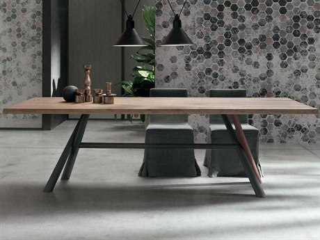 Yumanmod Tudor Lacquered Metal & Oak Rectangular Dining Table