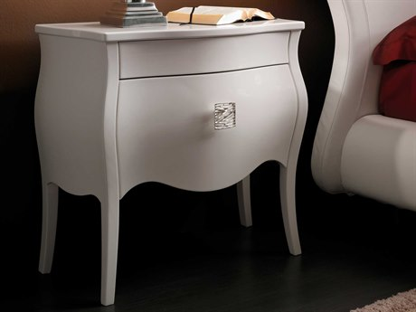 YumanMod Victoria White High Gloss Lacquer 2 Drawers Nightstand
