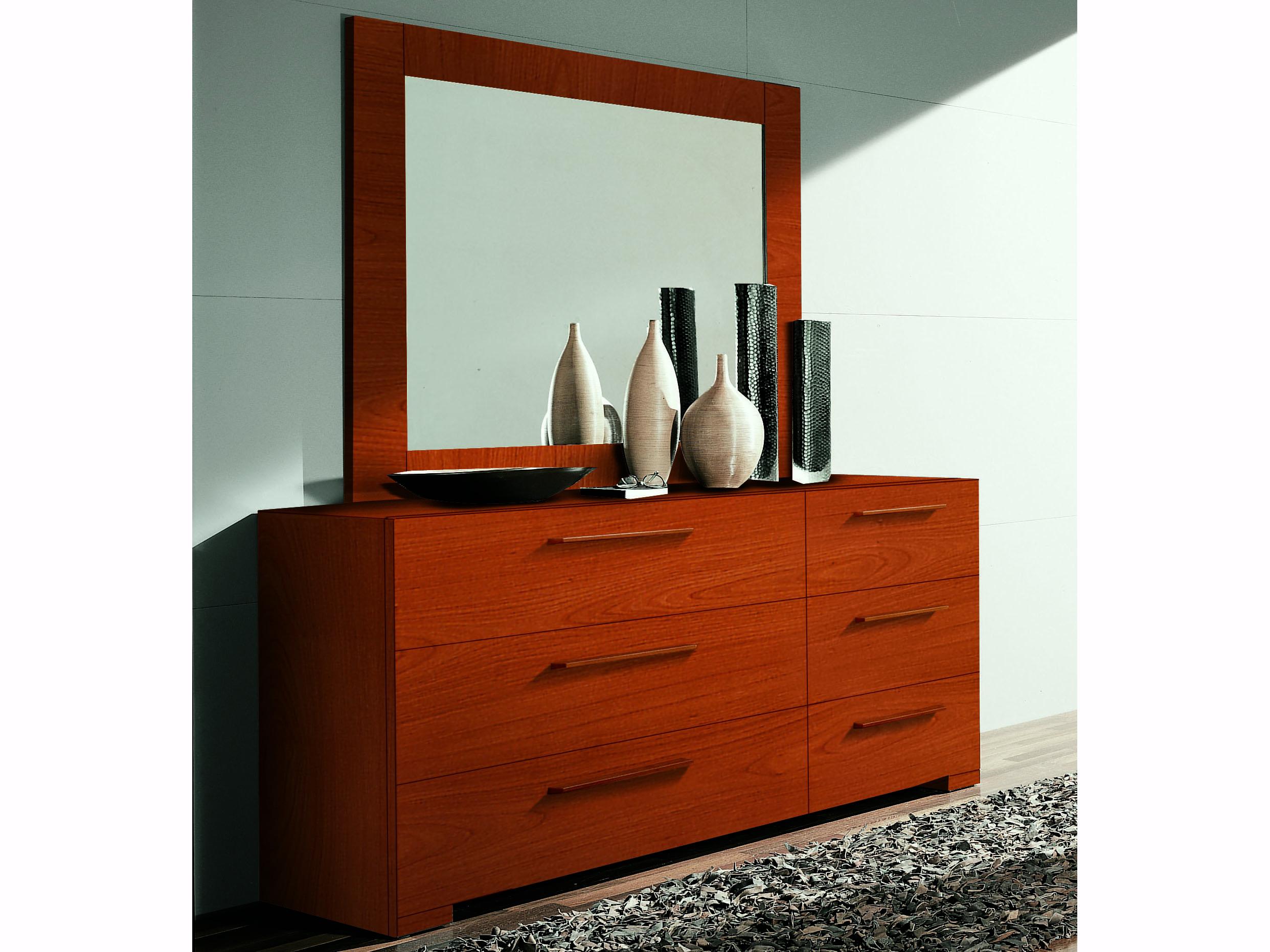 Yumanmod Wynd Cherry 6 Drawers Double Dresser With Mirror Ymcr53524544