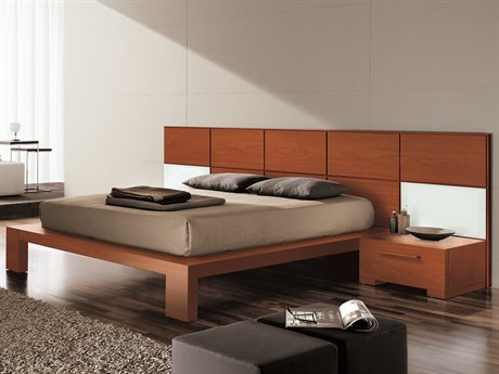 YumanMod Wynd Cherry Platform Bed with Nightstands and Lights