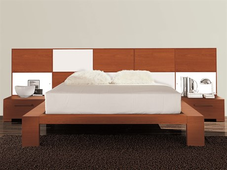 YumanMod Wynd White / Cherry Platform Bed with Lights
