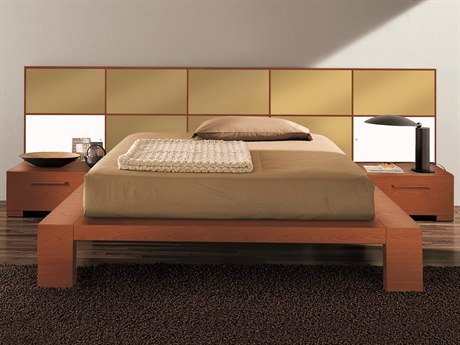 YumanMod Wynd Cherry / Gold Platform Bed with Lights